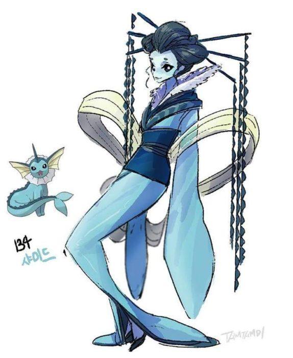 Dibujo de pokémon vaporeon con su versión en persona