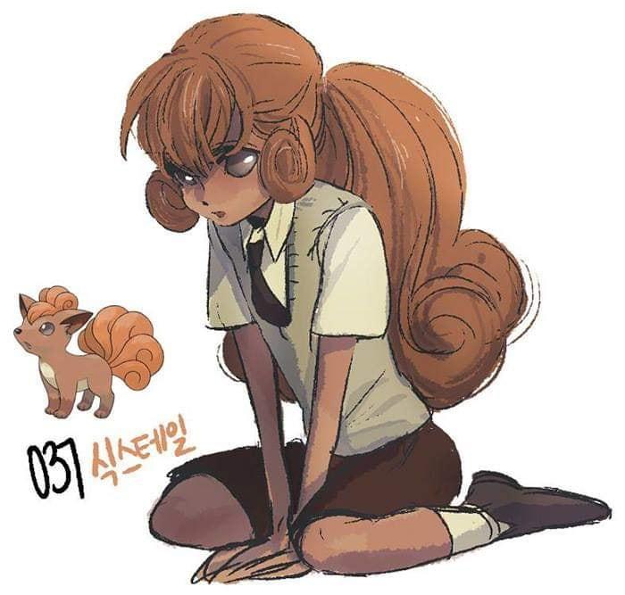 Dibujo de pokémon vulpix con su versión en persona