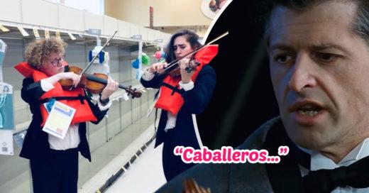 Violinistas se viralizan al recrear escena de los músicos del 'Titanic'