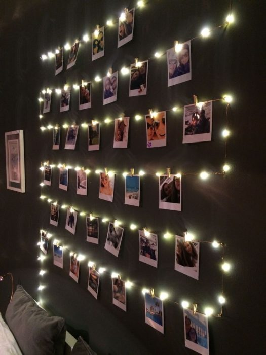 DIY de pared de fotos y serie de luces