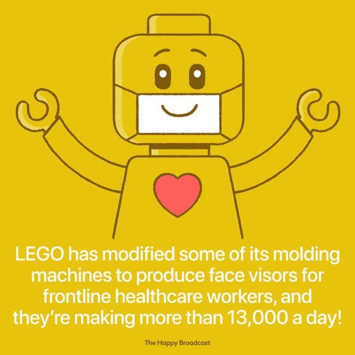 Ilustración de noticia positiva sobre apoyo de lego