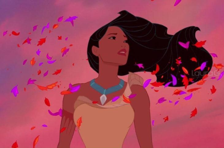 Pocahontas con su cabello al aire e Pocahontas