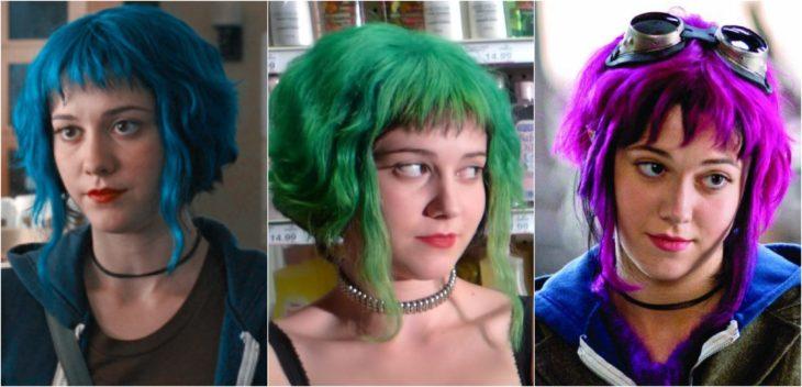 Ramona de Scott Pilgrim vs. the World con el cabello teñido de colores