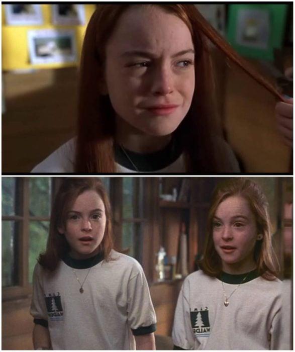 Lindsay Lohan en Juego de gemelas cortando su cabello