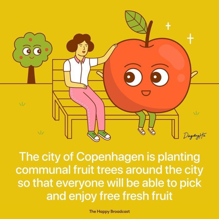 Ilustración de noticia positiva sobre árboles