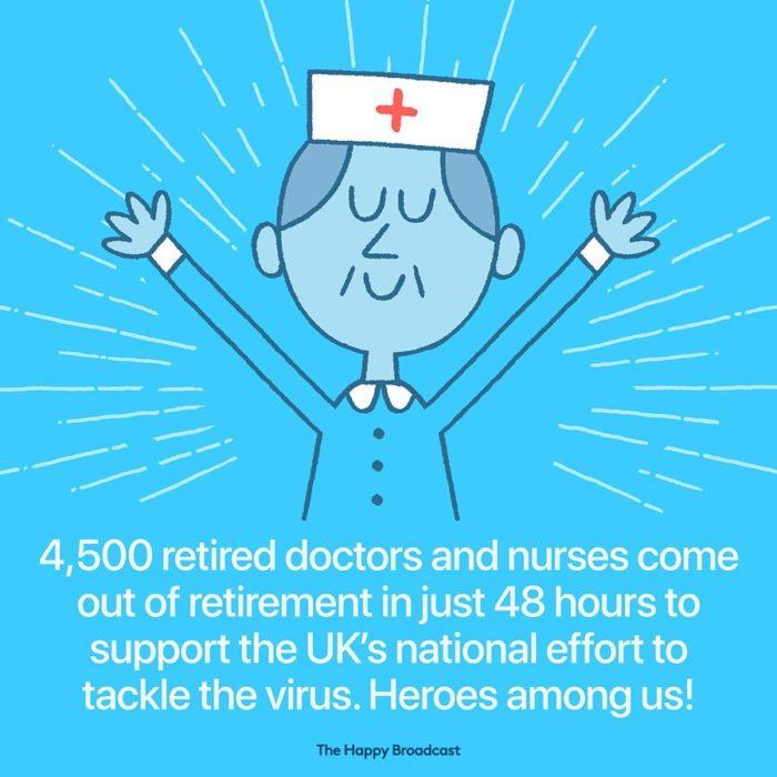 Ilustración de noticia positiva sobre médicos y enfermeras