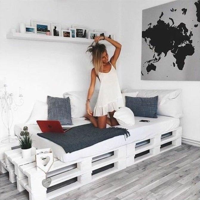 DIY de base de cama hecha con palets de madera
