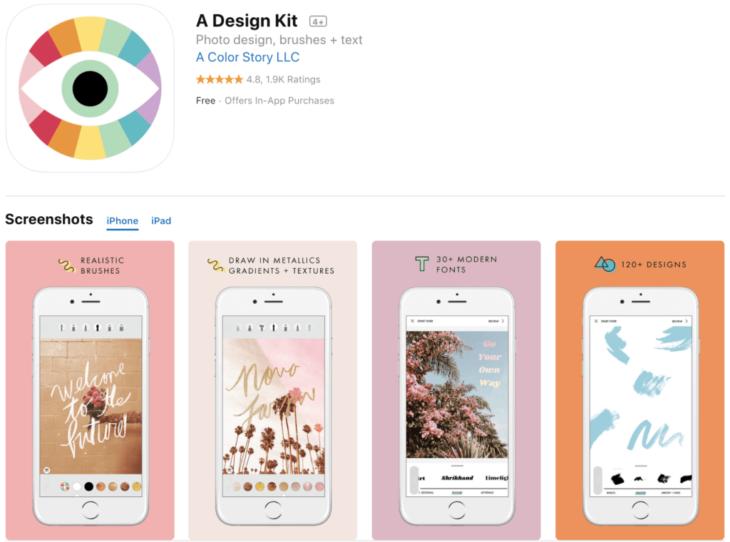 A design kit aplicación para edición de stories en Instagram