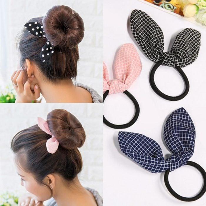 Ligas para cabello decoradas con orejas de conejo