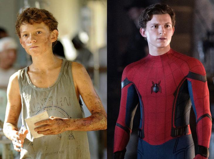 Actores jóvenes de la Generación Z antes y después; Toma Holland, Lo imposible, Spider Man, El hombre araña