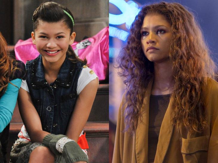 Actores jóvenes de la Generación Z antes y después; Zendaya, Shake it up, Euphoria