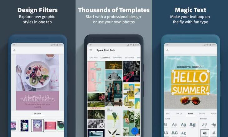 Adobe Spark Post application for editing stories on Instagram