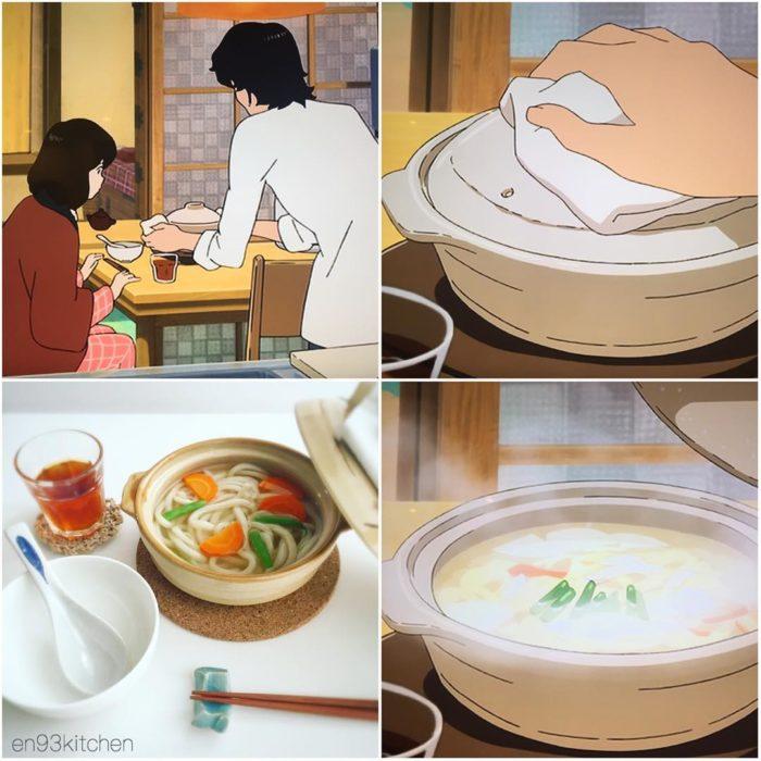 Recreación de comida de películas de Studio Ghibli, sopa de fideos