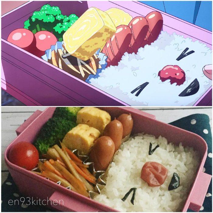 Recreación de comida de películas de Studio Ghibli, arroz con vegetales, salchichas y queso