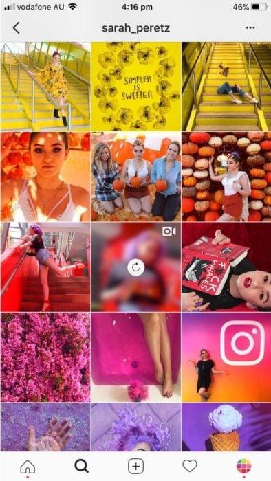 Feed de Instagram tipo arcoíris