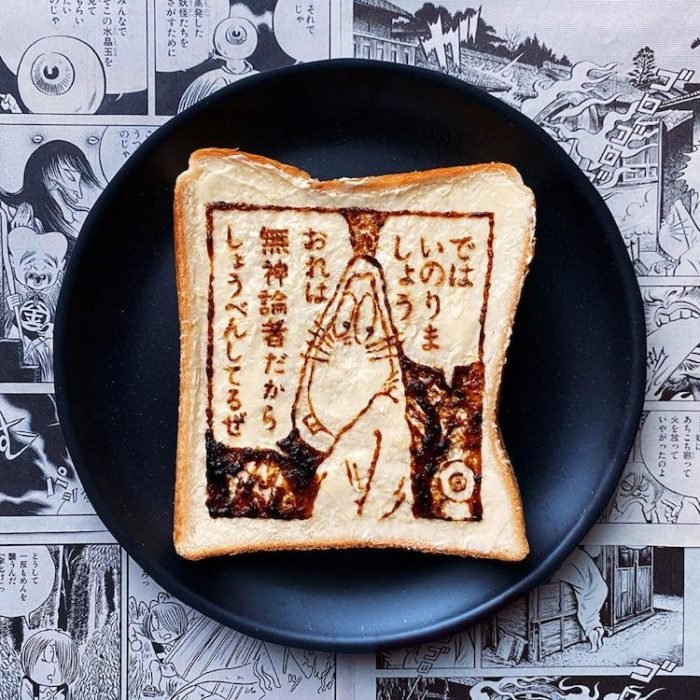 Pan tostado convertido en arte por Manami Sasaki