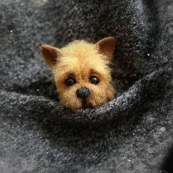 Figura de fieltro creada por la artista rusa Anna Romanova perrito amarillo en un saco gris