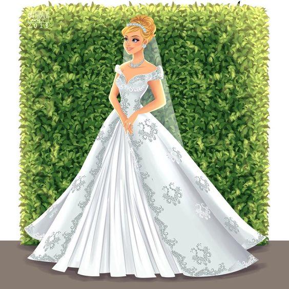 Cenicienta con vestido de novia
