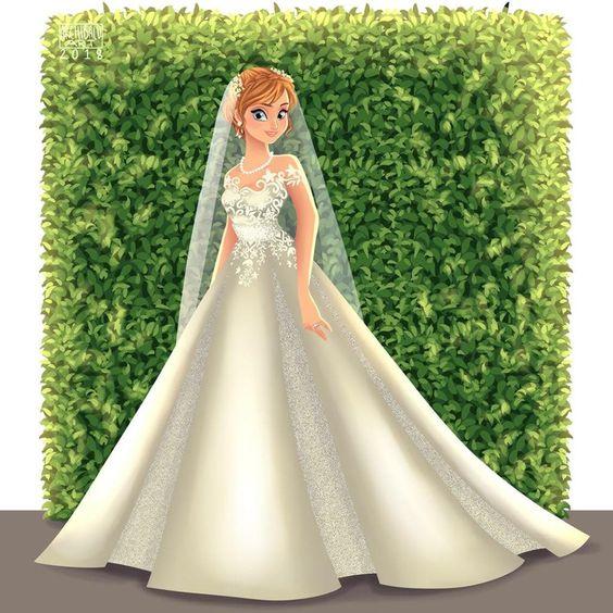 Anna de Frozen con vestido de novia