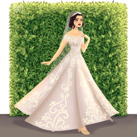 Blancanieves con vestido de novia