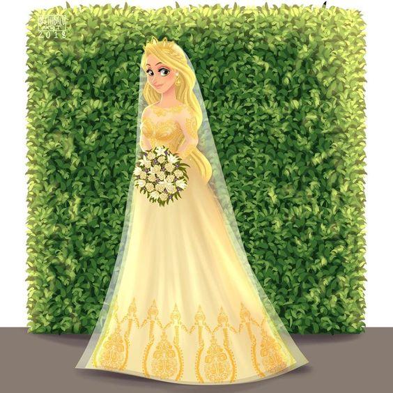 Rapunzel con vestido de novia