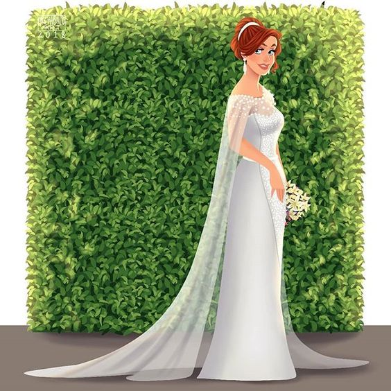 Anastasia con vestido de novia