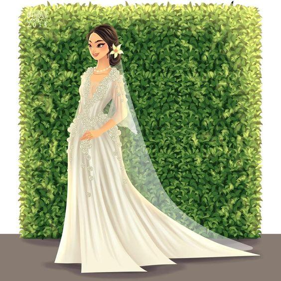 Mulan con vestido de novia