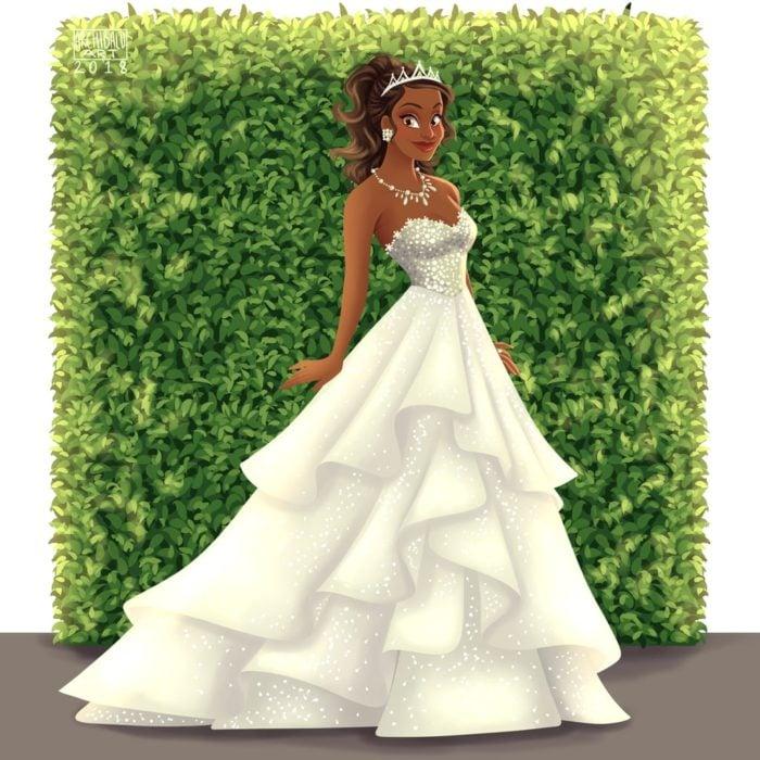 Tiana de La Princesa y El Sapo con vestido de novia