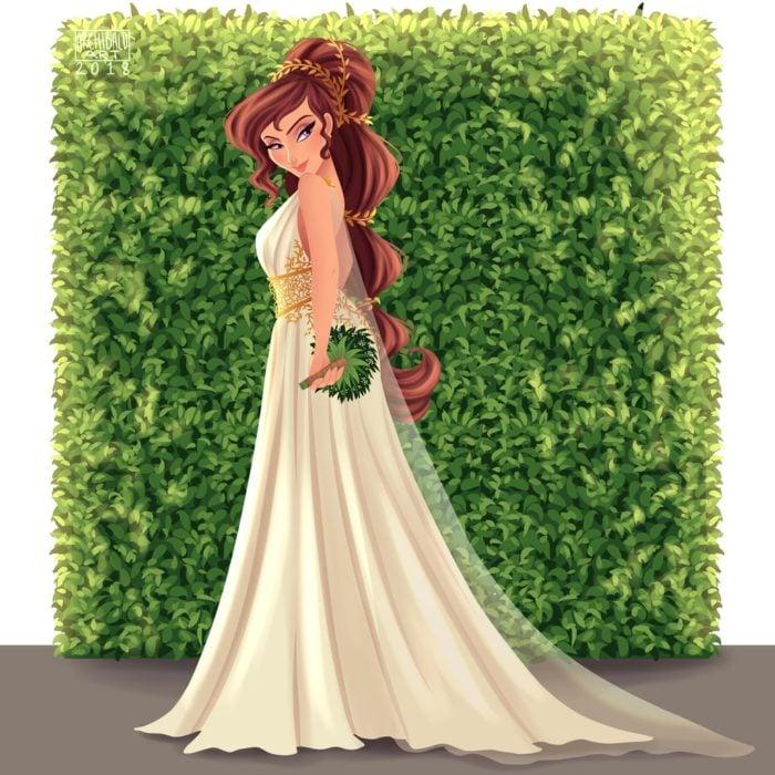 Megara de Hércules con vestido de novia