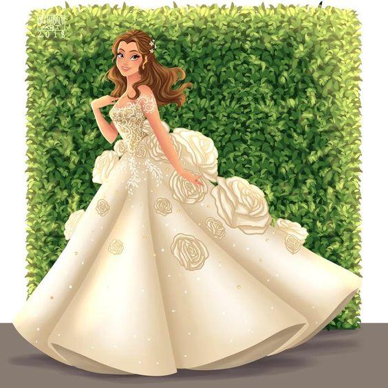 Bella de La Bella y La Bestia con vestido de novia