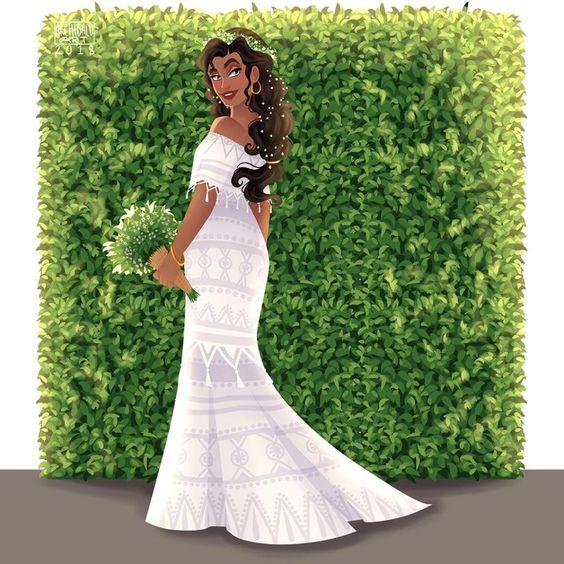 Esmeralda de El jorobado de Notre Dame con vestido de novia