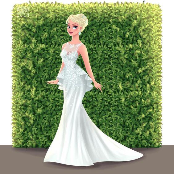 Elsa de Frozen con vestido de novia