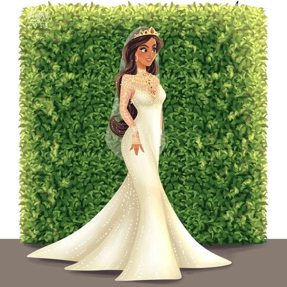 Jasmine de Aladín con vestido de novia