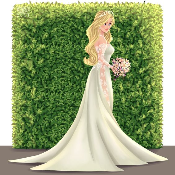 Aurora de La Bella Durmiente con vestido de novia