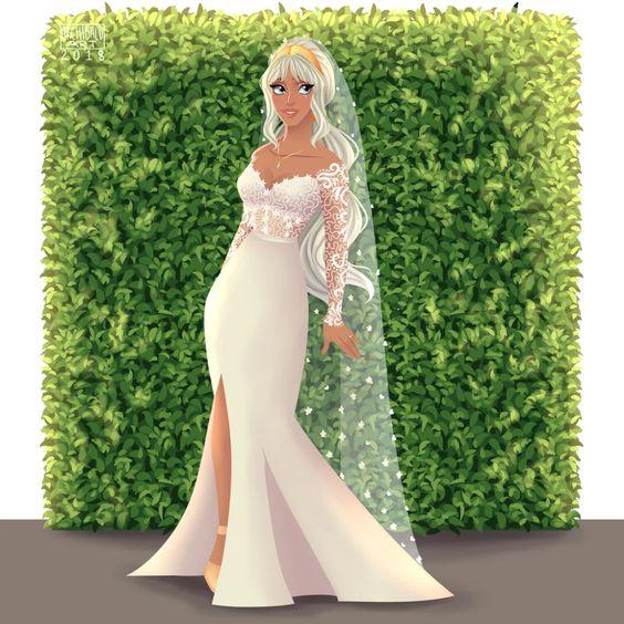Kira de Atlantis con vestido de novia