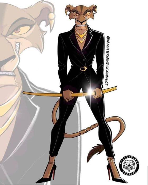 Ilustración de Master Minds Connect en la versión adolescente de El rey León, Banzai
