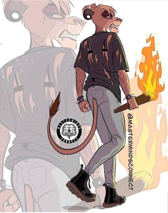 Ilustración de Master Minds Connect en la versión adolescente de El rey León, Ed