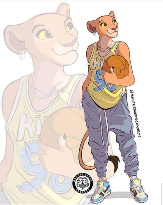Ilustración de Master Minds Connect en la versión adolescente de El rey León, Nala