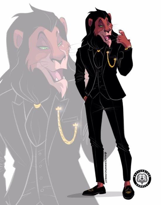 Ilustración de Master Minds Connect en la versión adolescente de El rey León, Scar