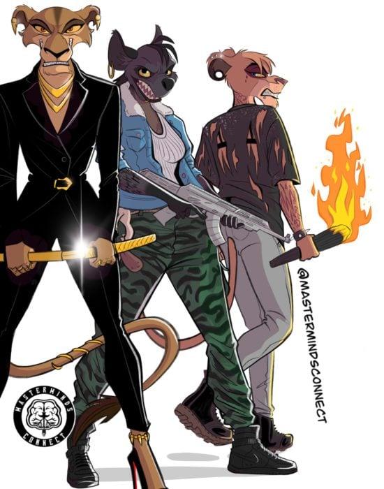 Ilustración de Master Minds Connect en la versión adolescente de El rey León, las hienas