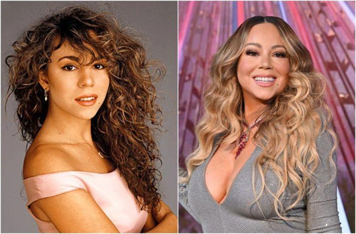 Mariah Carey de joven con caebllo rizado y largo en castaño