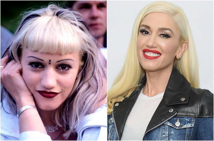 Gwen Stefani con cabello rubio y flequillo