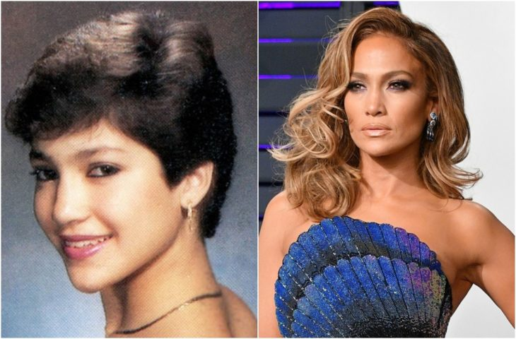Jennifer Lopez en su foto de anuario y en la actualidad