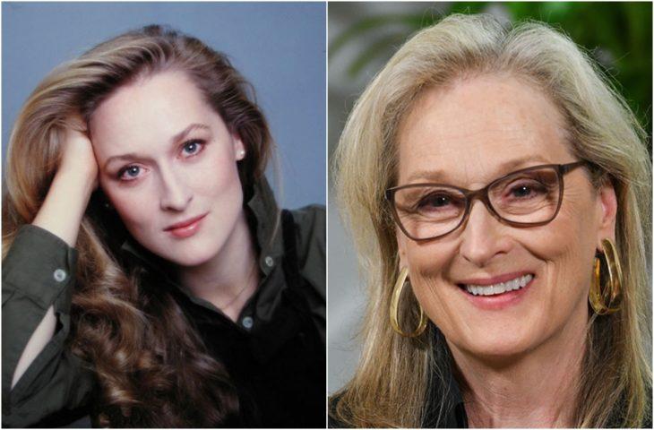 Meryl Streep de joven y en la actualidad