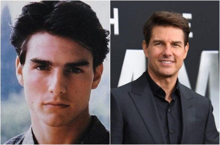 Tom Cruise de joven y actualmente como un actor consolidado en Hollywood
