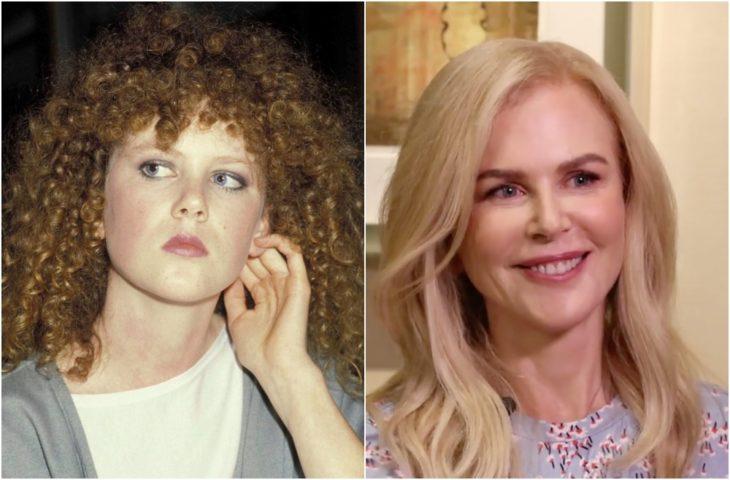 Nicole Kidman de jocen con cabello rizado y en la actualidad