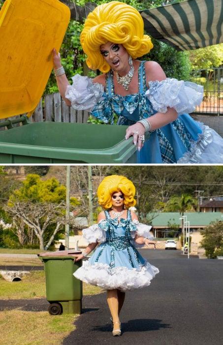 Señora disfrazada como drag queen lista para sacar la basura en australia