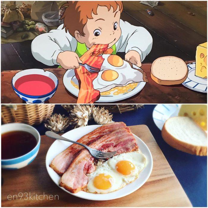 Recreación de comida de películas de Studio Ghibli, huevos con tocino