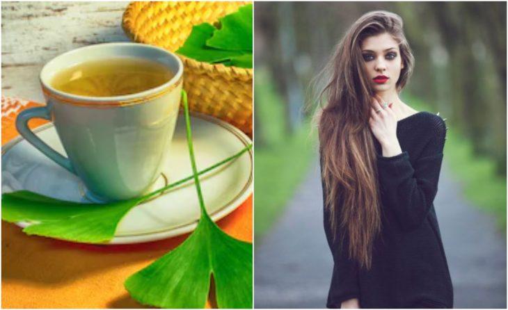 Chica con cabello largo y rubio junto a un té de ginkgo biloba
