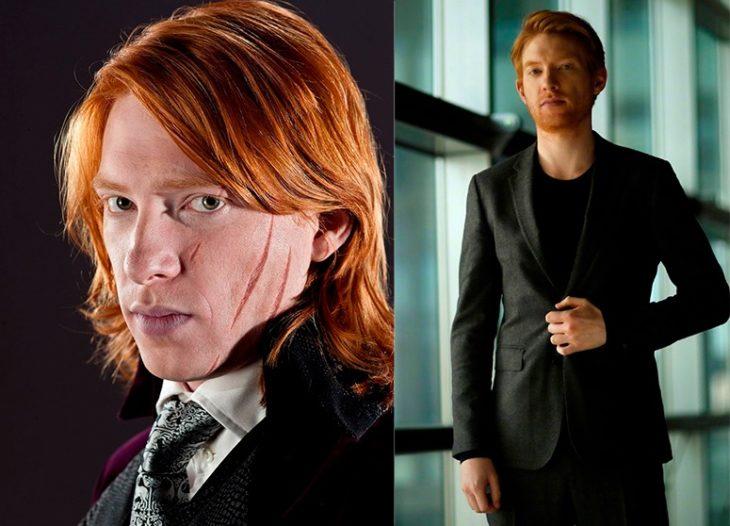 Foto comparativa del personaje Bill Weasley, con el actor que le dio vida Domhnall Gleeson